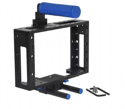 DSLR Camera  Cage Rig with 15mm rod block plate with Handle